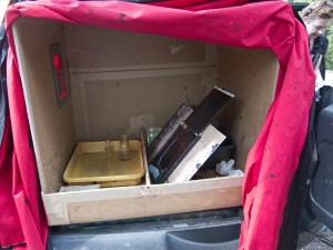 The portable darkroom in the car